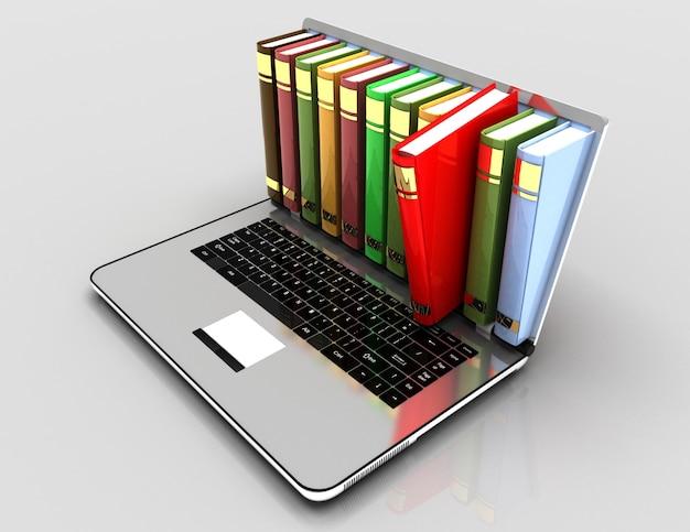 Концепция электронного обучения. ноутбук и книги. 3d иллюстрации