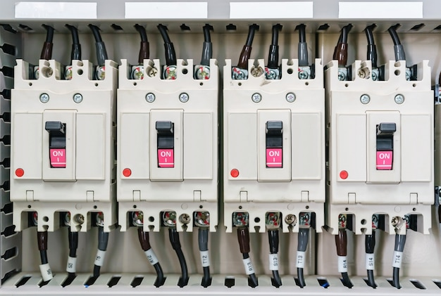 Electical distribution fuseboard. electrical supplies. electrical panel at a assembly line