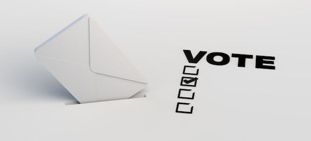 Баннер выборов с конвертом, входящим в урну для голосования, и текст голосования с флажками