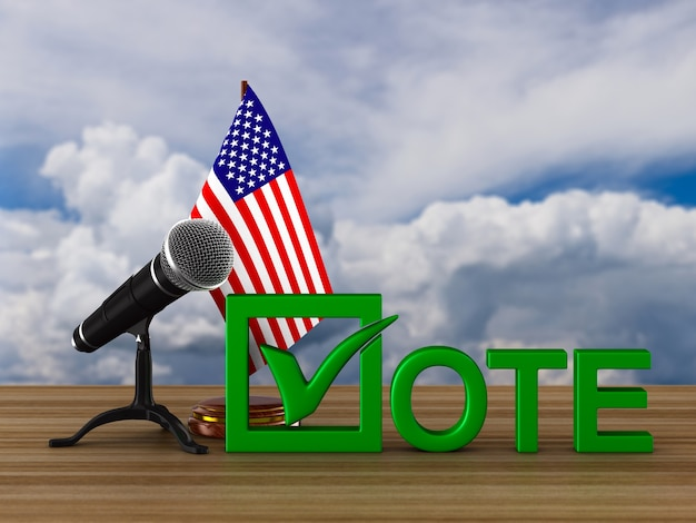 Election in usa, microphone and flag