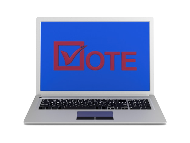 Elections on internet. isolated 3d rendering