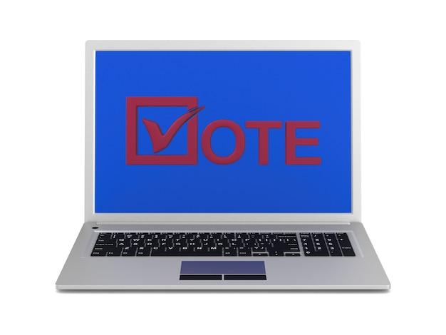 Выборы в интернете. изолированный 3d-рендеринг