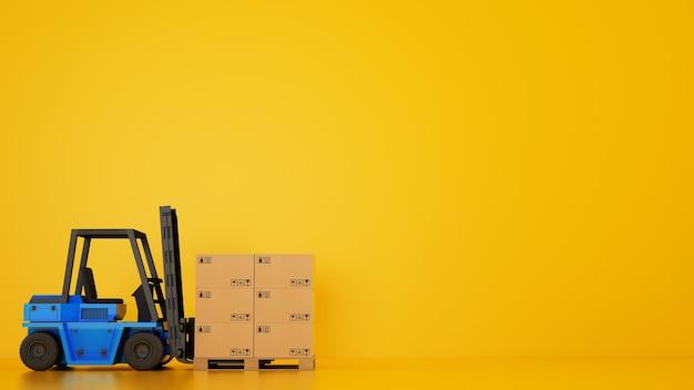 전기 블루 지게차는 노란색 배경에 상자가있는 나무 팔레트를로드합니다.
