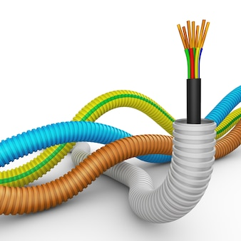 Electric cable and pipes