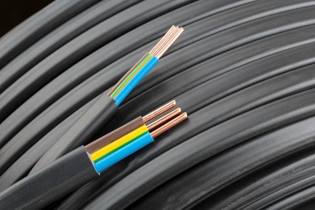 Electric cables closeup