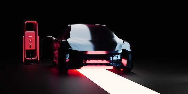 Электромобиль на зарядной станции красный дым и свет на темном фоне