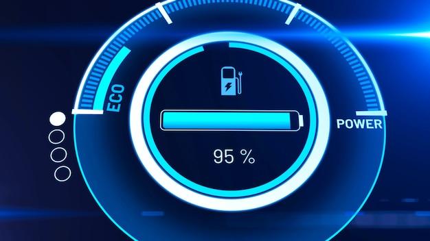 활성 충전 비전 대시보드의 전기 자동차 배터리