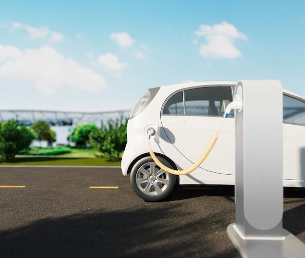 Зарядка электромобиля на станции крупным планом