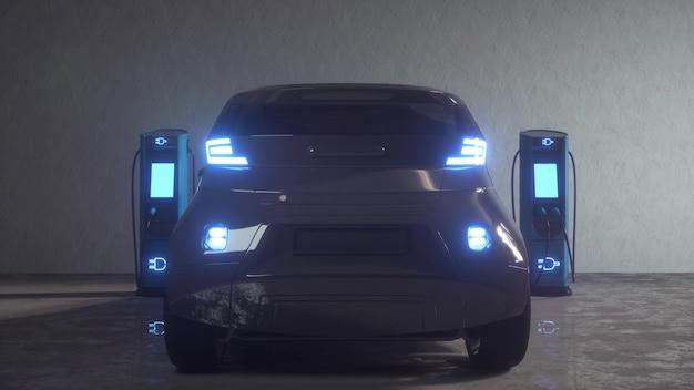 Зарядка электромобилей. порт зарядки электромобиля подключается к автомобилю. 3d-рендеринг.