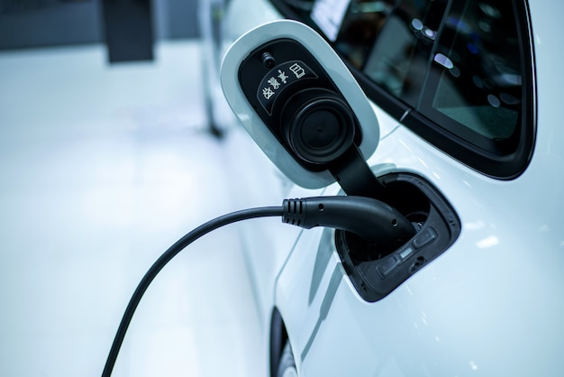 Electric car charging works power