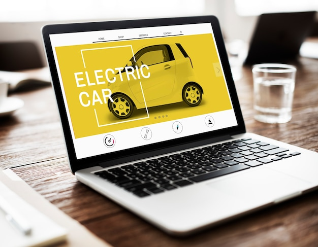 Electric car ecology technology save energy concept
