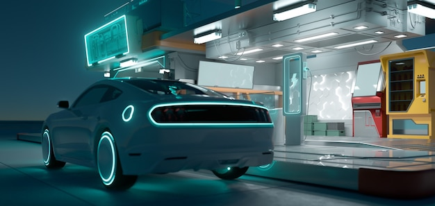 Electric car and futuristic charging station with neon light illuminated at dark night. electric automotive innovation transport concept. photorealistic 3d rendering.