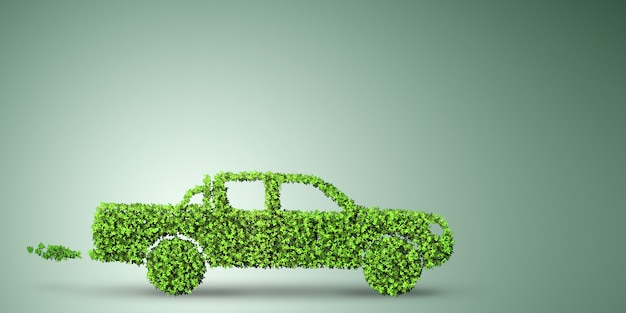 Electric car  in green environment