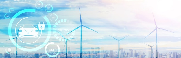 Электромобиль в концепции экологически чистой энергии, используемой зарядной станцией для электромобилей, произведенной из возобновляемых источников, для подачи на зарядную станцию с целью сокращения выбросов co2.