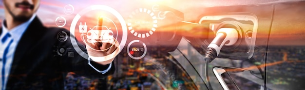 Концепция виртуальной реальности для электромобилей с зарядной станцией для экологически чистых источников энергии и экологически чистой энергией, производимой из экологически чистых источников для подачи на зарядную станцию с целью сокращения выбросов co2.