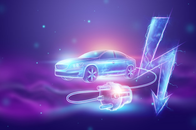 Electric car with charging wire, hologram, electricity sign.