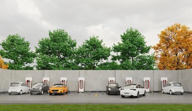 Электромобили на стоянке для зарядки