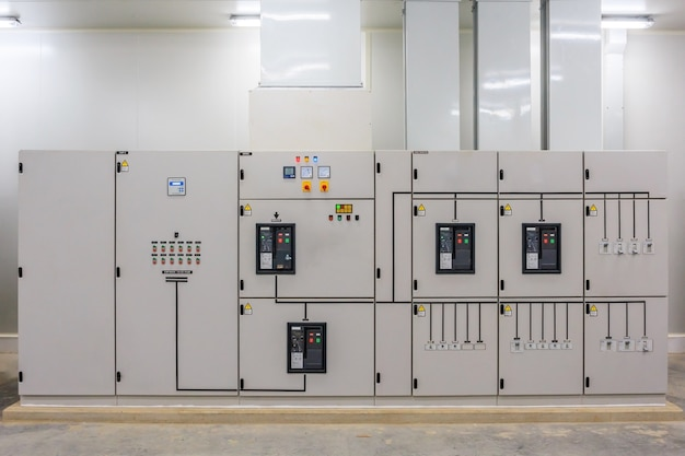 Electric control cabinet substation in a new factory plant.