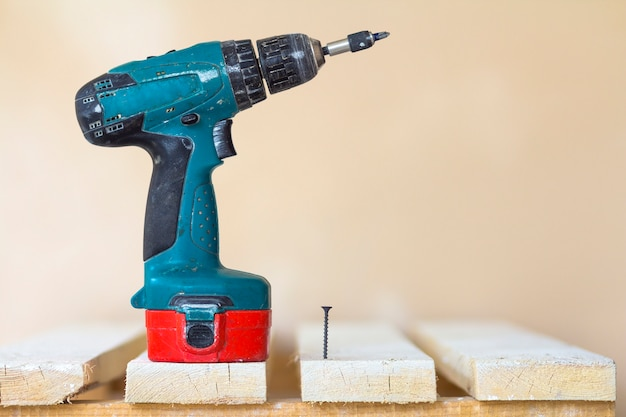 Electric cordless screwdriver and one screw