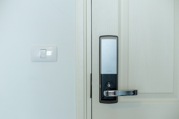 The electric door locker with white door