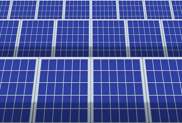 Electric energy generator system, solar cells panels field farm industry background.