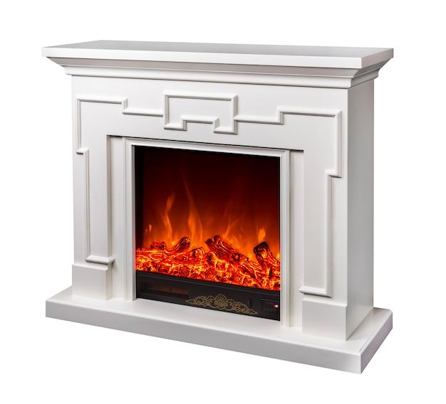 白の電気暖炉