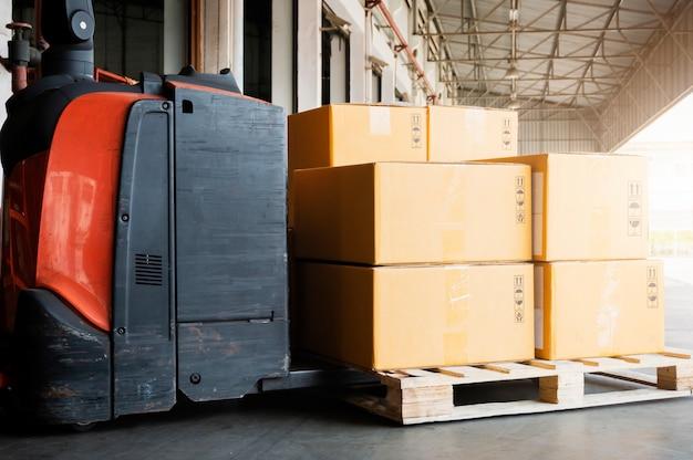 Electric forklift pallet jack loading shipment goods