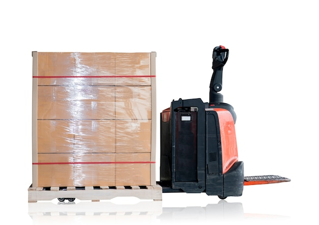 Electric forklift with shipment pallet isolated on white background.