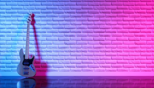 ネオンライト、3dイラストのレンガの壁にエレキギター