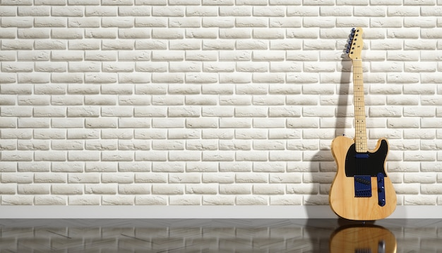 Electric guitar on a background of beige brick wall, 3d illustration