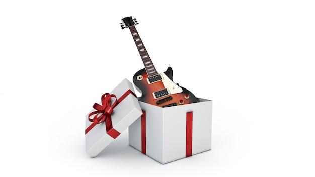 일렉트릭 기타 선물 상자 개념 3d 렌더링