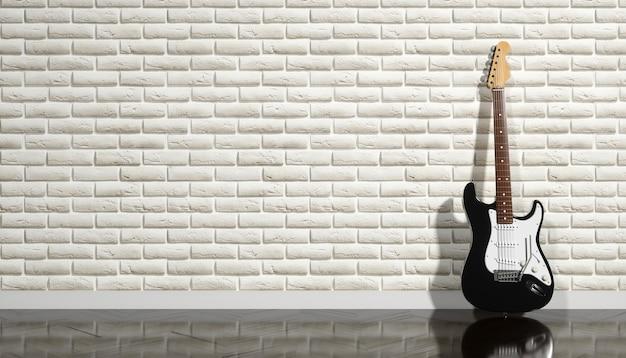 ベージュのレンガの壁、3dイラストを背景にエレキギター