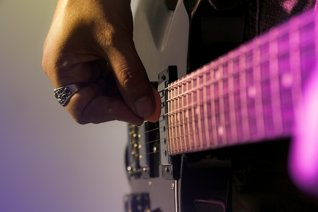 Electric guitar player on a stage