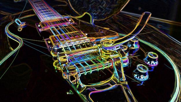 Электрогитара с тремоло. абстрактная цветная неоновая живопись.