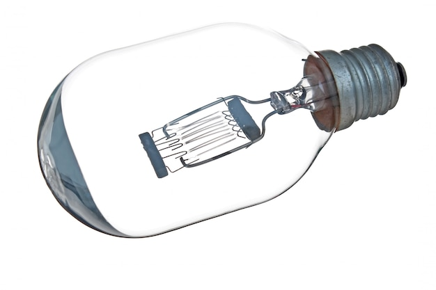 Electric incandescent lamp isolated on white surface