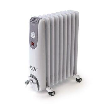 Электрический масляный обогреватель, изолированные на белом фоне 3d иллюстрация