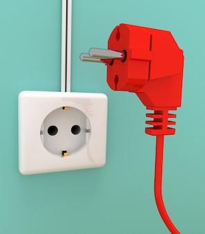 Электрическая вилка и розетка. 3d визуализированная иллюстрация