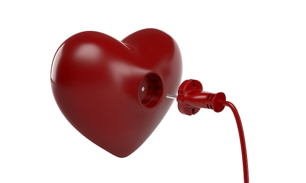 Electric plug and power socket in the form of red heart