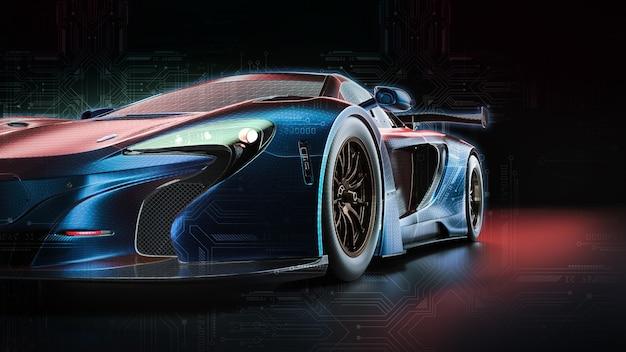 Электроэнергетический автомобиль. 3d визуализация и иллюстрирование.