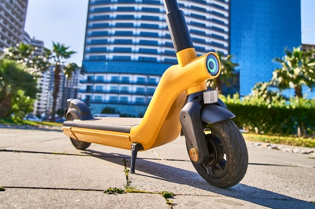 Electric scooter for fast mobile eco friendly active riding through the city