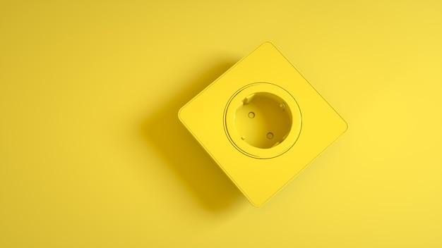 Электрическая розетка на желтом. 3d рендеринг.