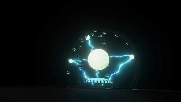 Electric spark plasma ball in white on dark background powerful electric energy flash magic energy 3d illustration