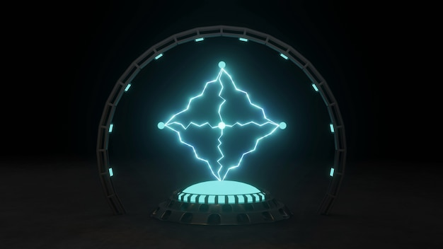 Electric spark plasma in blue on dark background powerful electric energy flash magic energy 3d illustration