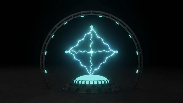 暗い背景に青の電気火花プラズマ強力な電気エネルギーフラッシュ魔法のエネルギー3dイラスト