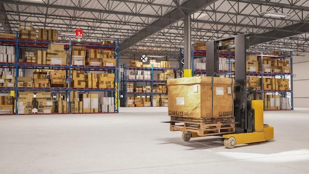 Электрический штабелер ручной подъемник поддонов, поднимающий картонную упаковку для доставки покупателю на склад. концепция бизнеса и логистики