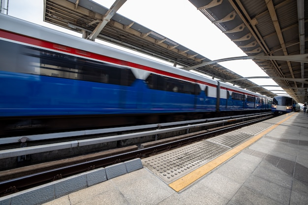 Electric train stop and moving in bangkok thailand station