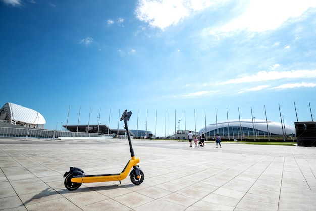 Electric transport rental in the park for a walk parking for electric scooters