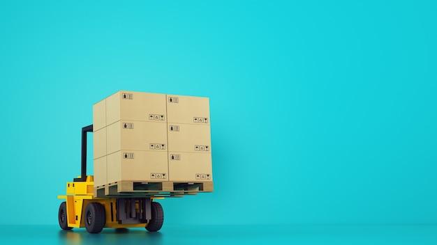 전기 노란색 지게차는 청록색 배경에 상자가있는 나무 팔레트를로드합니다.