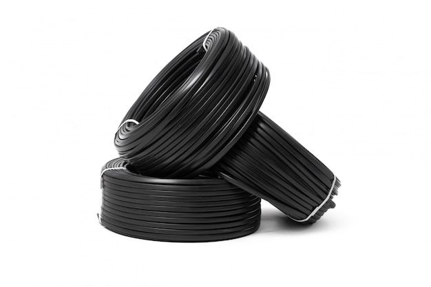 Electrical cable, energy and technology equipment isolated on white
