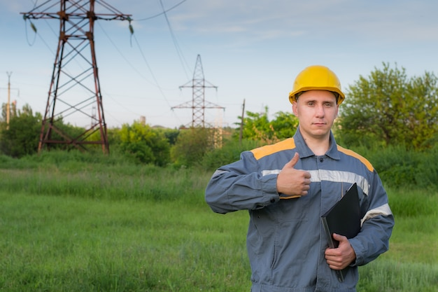 Electrical engineer in protective clothing